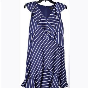 Banana Republic Navy Striped Ruffled Dress